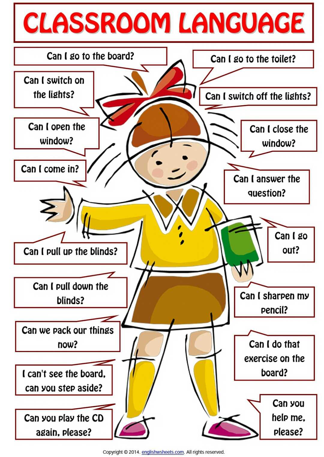 Skpanji Classroom Language For Students Poster Worksheet