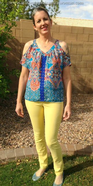 Collective Concepts Solaria Cold Shoulder Top and Level 99 Giovanni Straight Leg Jean - Stitch Fix Review - March 2016