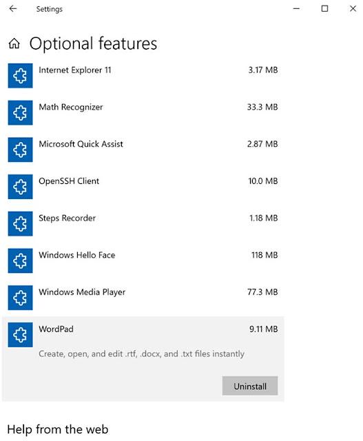 Cara Menginstal Dan Menghapus Instalasi WordPad Di Windows 10