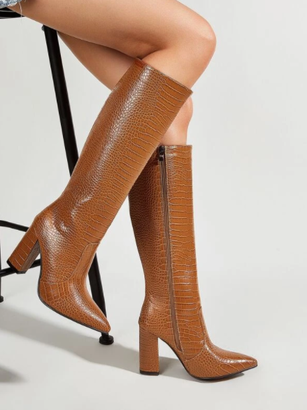 Brown Crocodile Knee Boots