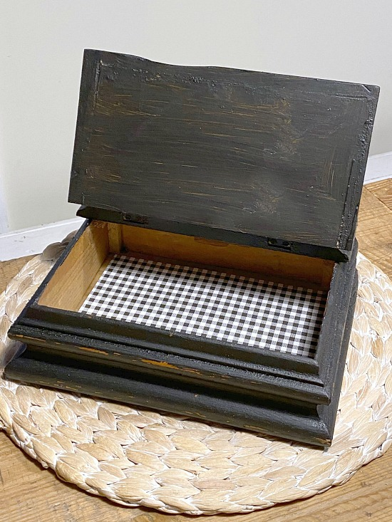 Buffalo Check lined Wooden box for Office Supplies