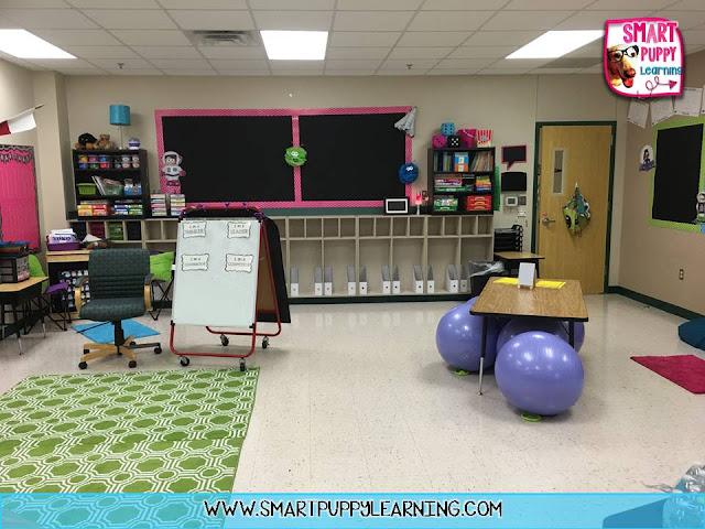 bulletin boards and alternative seating, space theme