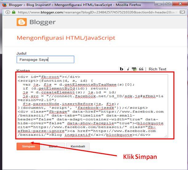 Cara memasang Halaman Fanspage part07