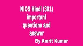 NIOS HINDI (301) | IMPORTANT QUESTIONS AND ANSWERS- HINDI-301