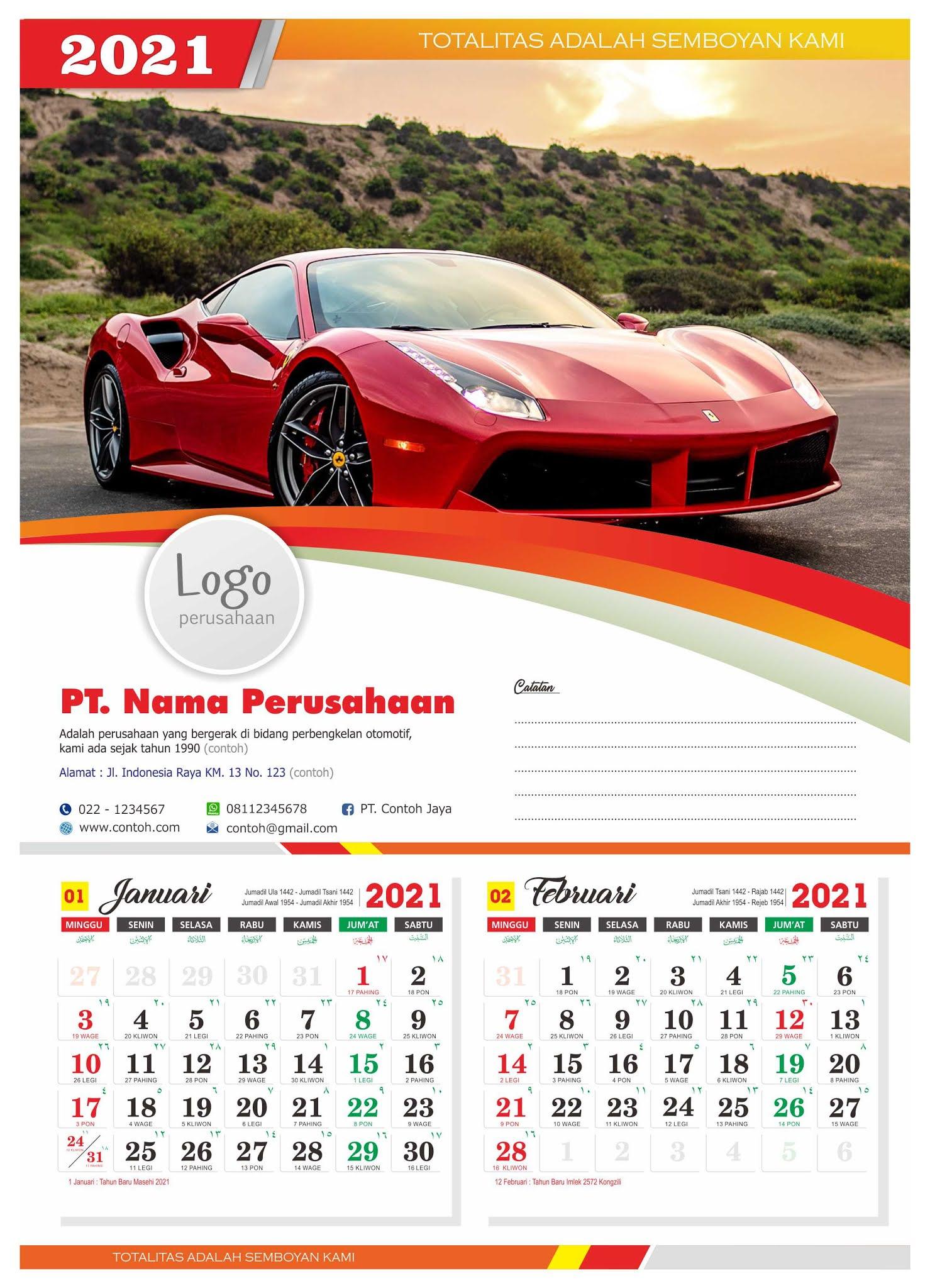 Download Templat Desain Kalender Tahun 2021 Lengkap cdr ...