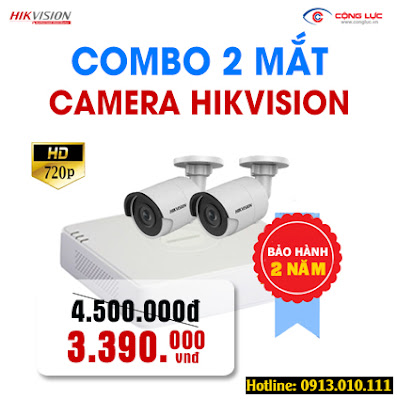 Trọn bộ 2 mắt Camera Hikvision 1.0 megapixel