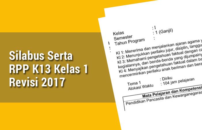 Silabus Serta RPP K13 Kelas 1 Revisi 2017