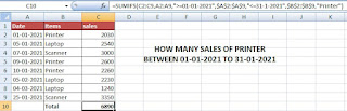 How to SUM values between two dates using SUMIFS Function in Excel
