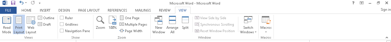 Menu view Microsoft Word