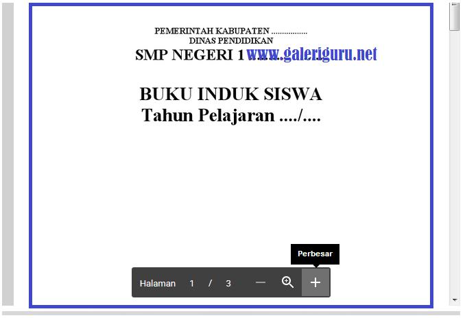 Format Blangko Buku Induk Siswa di SMP (Microsoft Word)