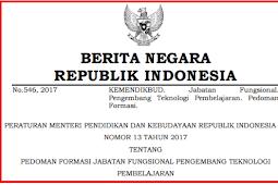 Permendikbud No 13 [Tahun] 2017 (Tentang) Pedoman FORMASI Jabatan Fungsional PENGEMBANG TEKNOLOGI PEMBELAJARAN