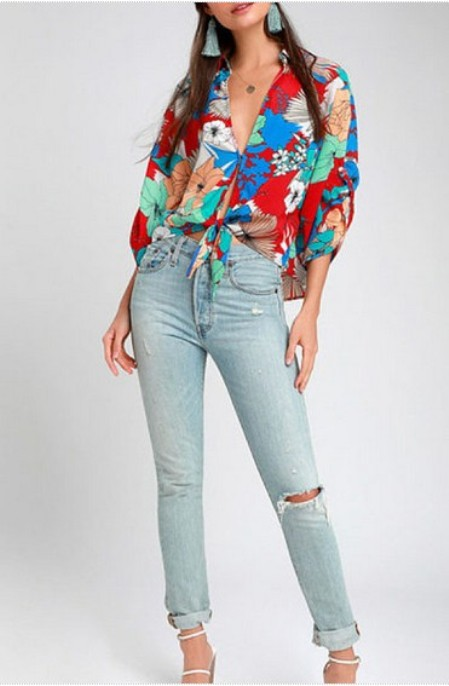 Deep V Neck Floral Printed Blouses - Price:$22.00