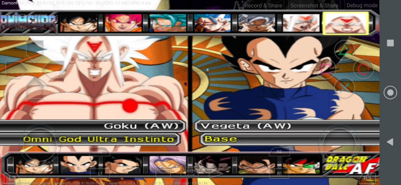 Anime War DBZ Budokai Tenkaichi 3 MOD PS2 ISO