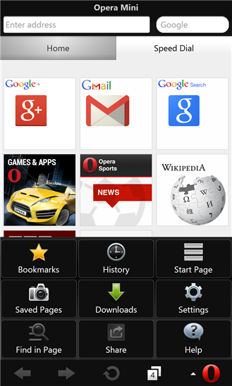 Opera Mini Windows Phone UI