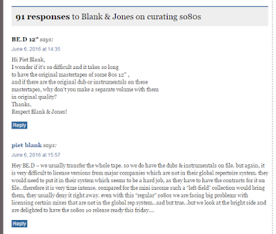 [screenshot of fan comment & Piet Blank's response on the superdeluxeedition blog]