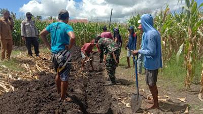 Babinsa Desa Lanci Jaya Gotong Royong Gali Pondasi GSG Bersama Warga Binaan