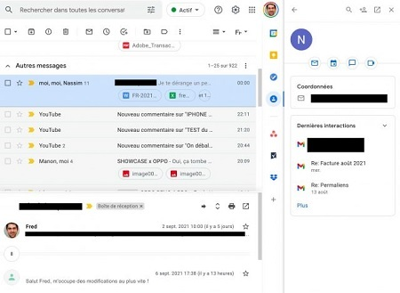 Access Google Contacts from the side panel