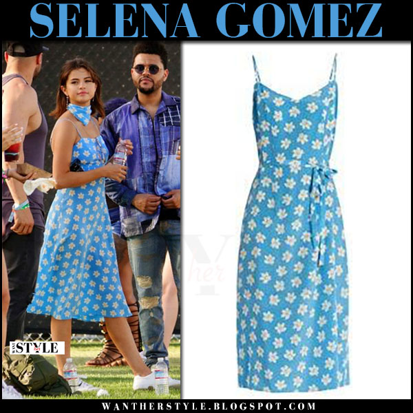 Selena Gomez in light blue floral print hvn lily midi dress and white sneakers ash nicky what she wore coachella 2017