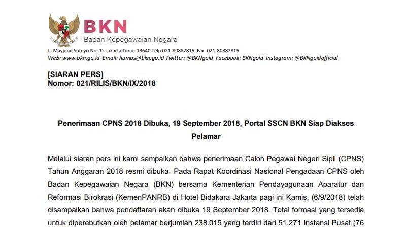 Siaran Pers: Penerimaan CPNS 2018 Dibuka, 19 September 2018, Portal SSCN BKN Siap Diakses Pelamar