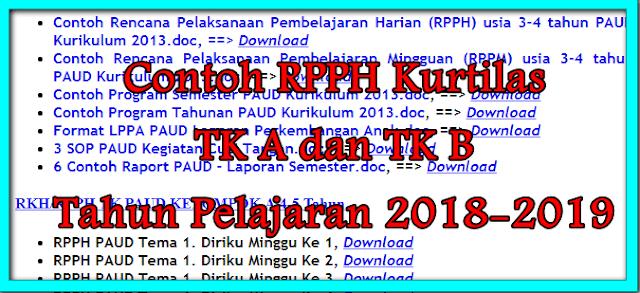 Contoh RPPH Kurtilas TK A TK B Tahun Pelajaran 2018-2019