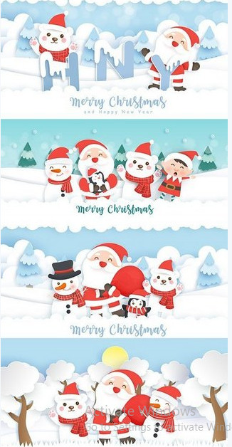 Vector clipart – Christmas and New Year's Eve banner with Santa Claus and friends [EPS]