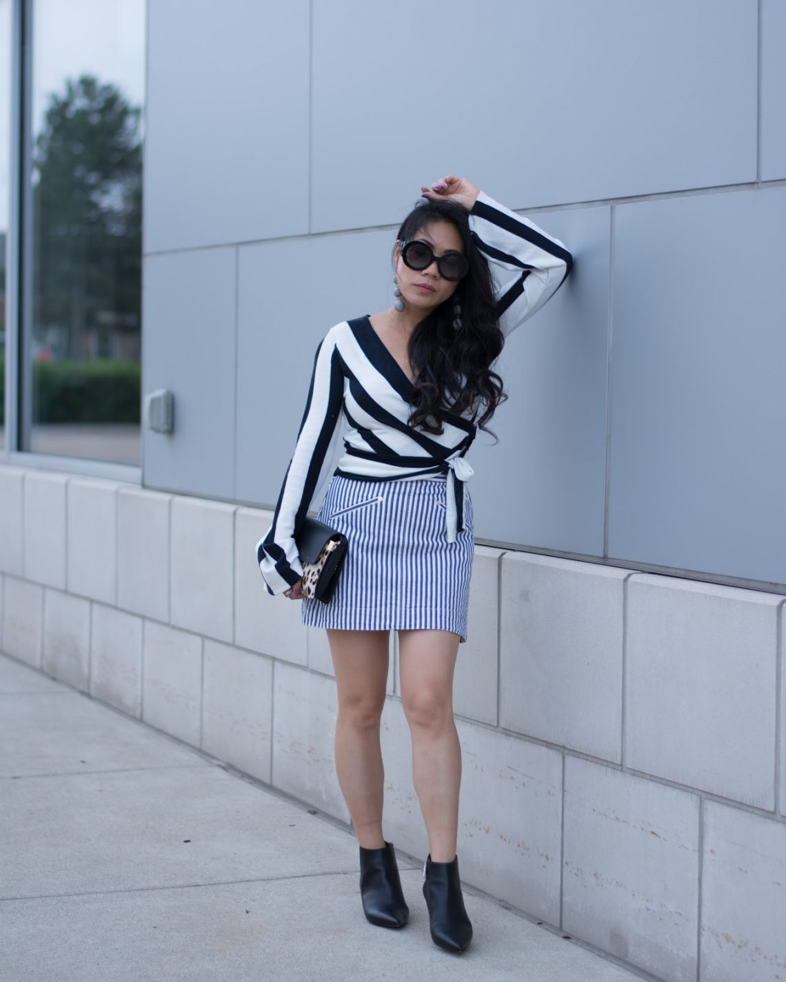 Stripes worn with stripes by over-40s blogger Grace Liang from Color and Grace