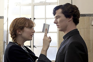 Katherine Parkinson with Benedict Cumberbatch in The Reichenbach Fall