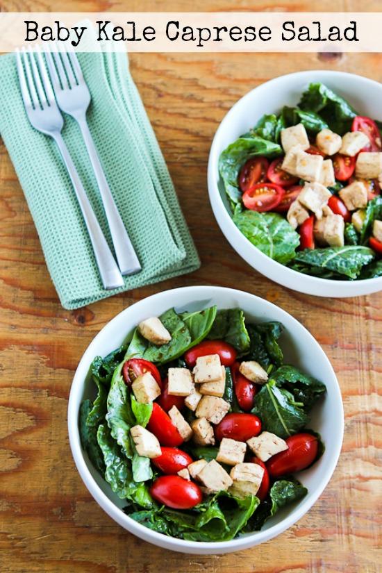 Baby Kale Caprese-Style Salad with Fresh Mozzarella, Tomatoes, and Basil found on KalynsKitchen.com