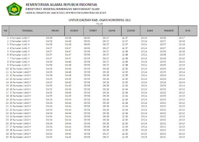 Jadwal Imsakiyah Ramadhan 1442 H Kabupaten Ogan Komering Ulu, Provinsi Sumatera Selatan