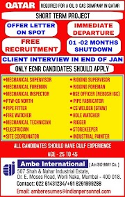 QATAR JOBS : REQUIRED FOR A OIL AND GAS COMPANY IN QATAR .g
