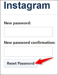 Memulihkan password baru instagram