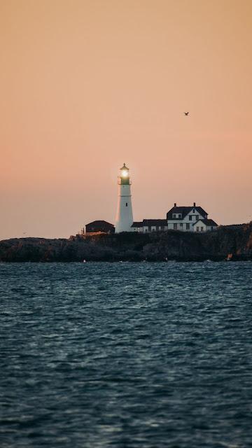 Sea, Lighthouse, Buildings, Sunset, Sky