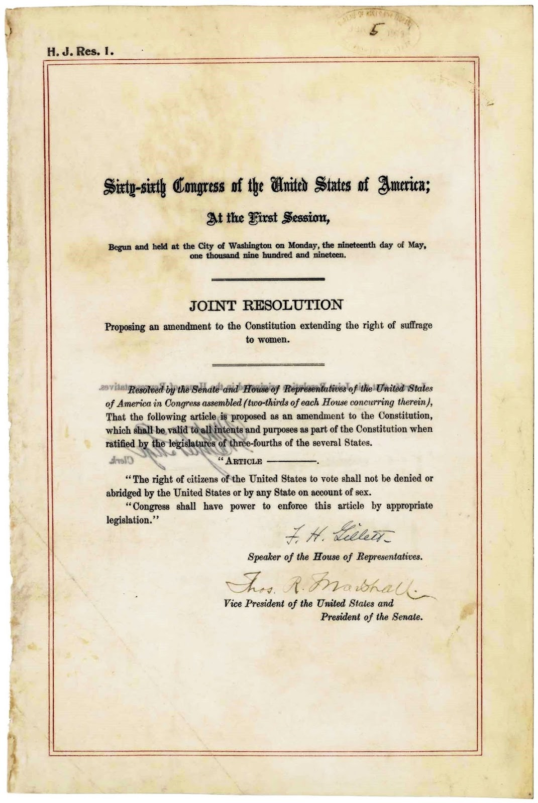united states constitution and citizenship day: 19th amendment