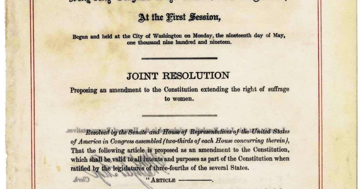 United States Constitution And Citizenship Day 19th Amendment