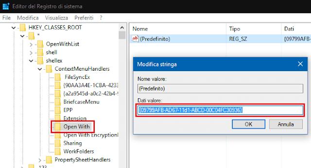 Valore registro per visualizzare Apri con nel menu destro del mouse
