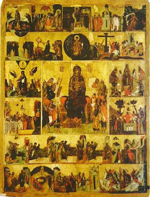 Ο Ακάθιστος Ύμνος, ρωσική εικόνα του 14ου αιώνα. Στο κέντρο εικονίζεται η Παναγία, ενώ καθεμιά από τις μικρές περιφερειακές εικόνες αφορά τη διήγηση ενός από τους 24 «οίκους» του Ακάθιστου Ύμνου