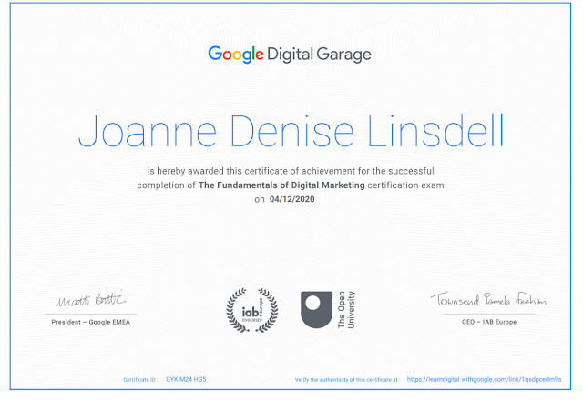 Fundamentals of Digital Marketing course with Google Garage certificate for Jo Linsdell