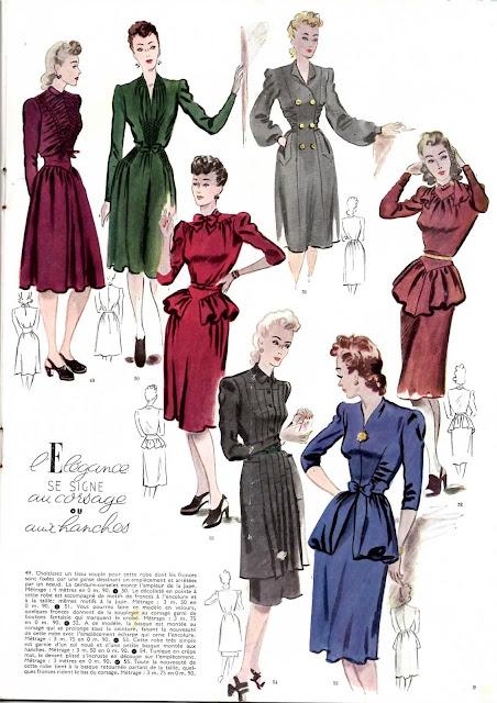 magazine mode et travaux octobre 1942 l'élégance se signe au corsage ou aux hanches