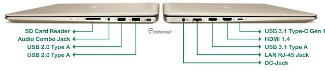 Kelengkapan port ASUS Vivobook Pro 15 N580VD