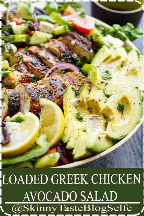 4.6 | ★★★★★ Loaded Greek Chicken Avocado Salad is another meal in a salad! Full of Greek flavours and a 5-ingredient dressing that doubles as a marinade! #CHICKEN #AVOCADO #SALAD