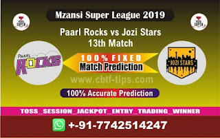 Who will win Today MSL T20 2019, 13th Match Jozi vs Parl, Mzansi T20 2019