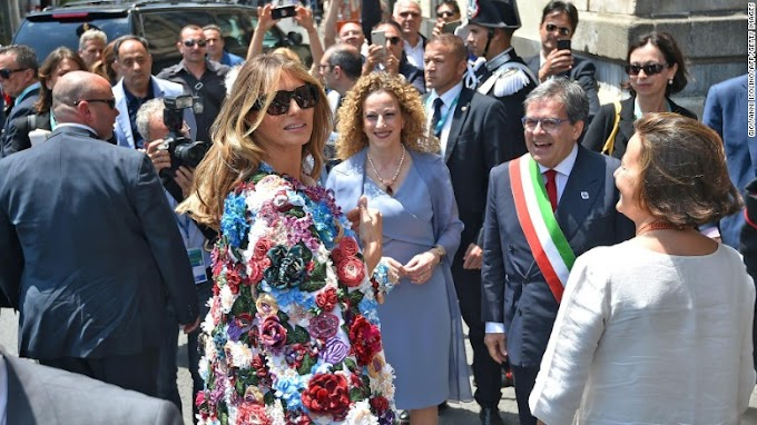 Melania Trump steps out in Sicily wearing a $51, 500 floral jacket