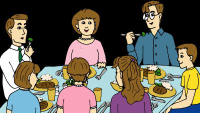 keluarga sedang makan