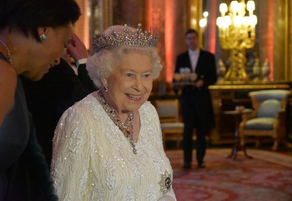 Queen Elizabeth gave a dinner for Commonwealth Heads of Government and their spouses in the Blue Drawing Room at Buckingham Palace
