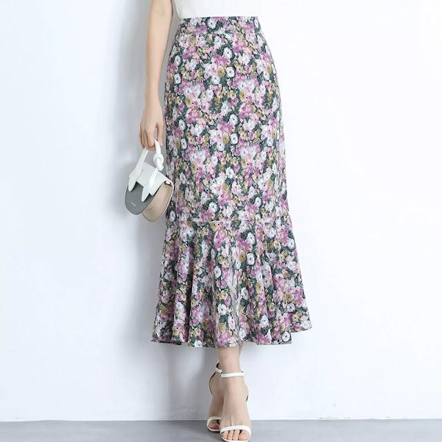 1. Floral Print Skirt