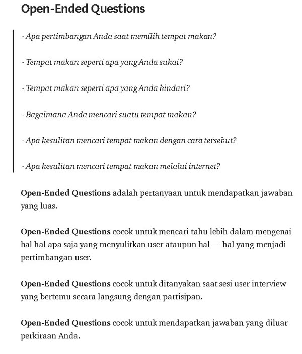contoh pertanyaan terbuka