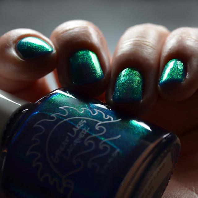 inky blue nail polish with aurora shimmer