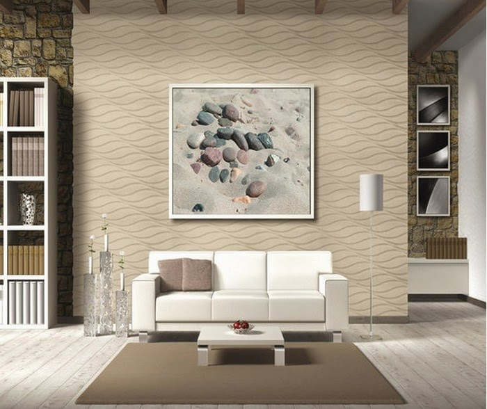 modern wall covering with 3D wall panels in wave style