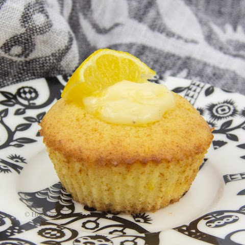 Lemon Curd Muffins with Vanilla Custard