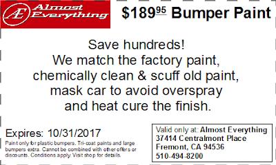 Discount Coupon $189.95 Bumper Paint Sale October 2017